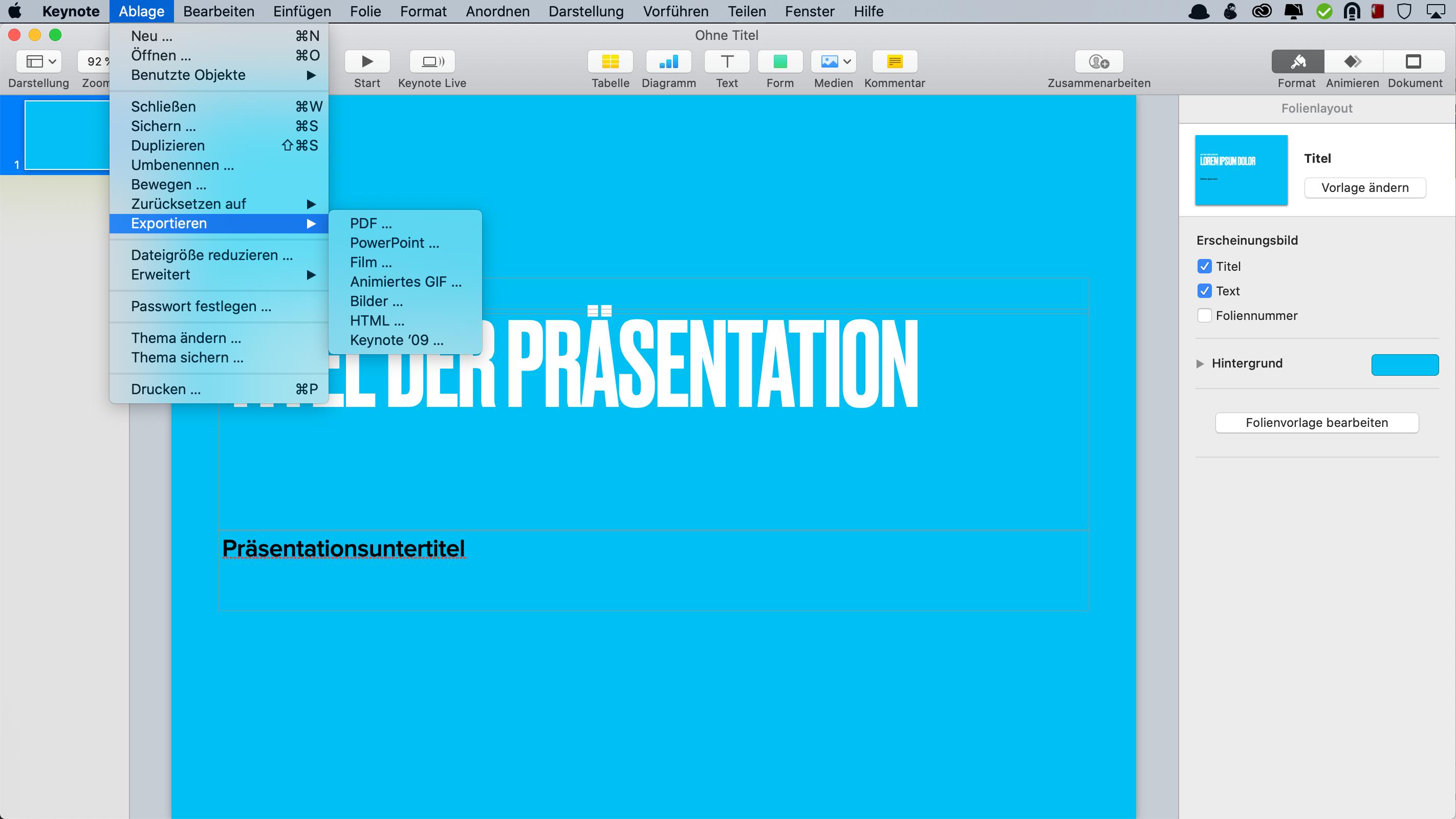 Eine PDF-Datei aus Keynote für die Online Präsentation erstellen
