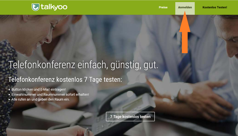 Melden sich auf talkyoo.net an.