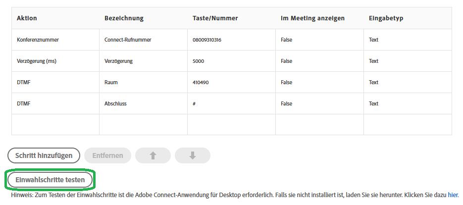 Einrichten eines Universal Voice-Audioanbieters in Adobe Connect mit der Telefonkonferenz von talkyoo: Kontrollieren, ob Adobe Connect die Einwahl in die Konferenz schafft.