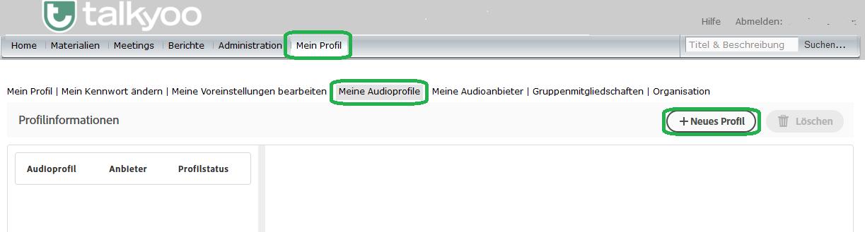Einrichten eines Universal Voice-Audioanbieters in Adobe Connect mit der Telefonkonferenz von talkyoo: Eine neues Audioprofil in Adobe Connect anlegen.