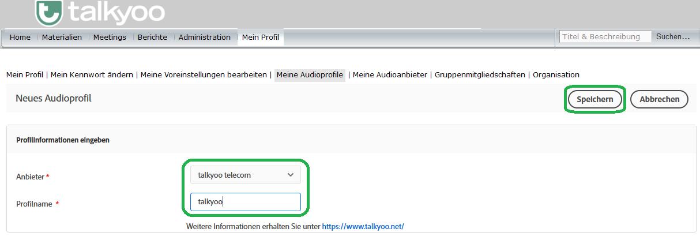 Einrichten eines Universal Voice-Audioanbieters in Adobe Connect mit der Telefonkonferenz von talkyoo: Das talkyoo Audioprofil auswählen