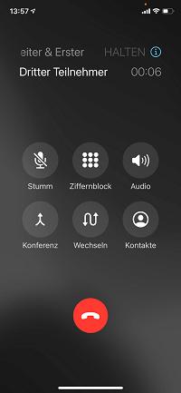 Telefonkonferenz iPhone: weiteren-Teilnehmer anrufen und hinzufügen