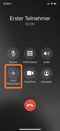 Telefonkonferenz iPhone: Anruf hinzufügen