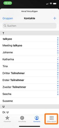 Telefonkonferenz iPhone: Kontakt auswählen oder Ziffernblock nutzen