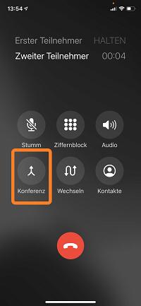 Telefonkonferenz iPhone: Konferenz-Icon drücken